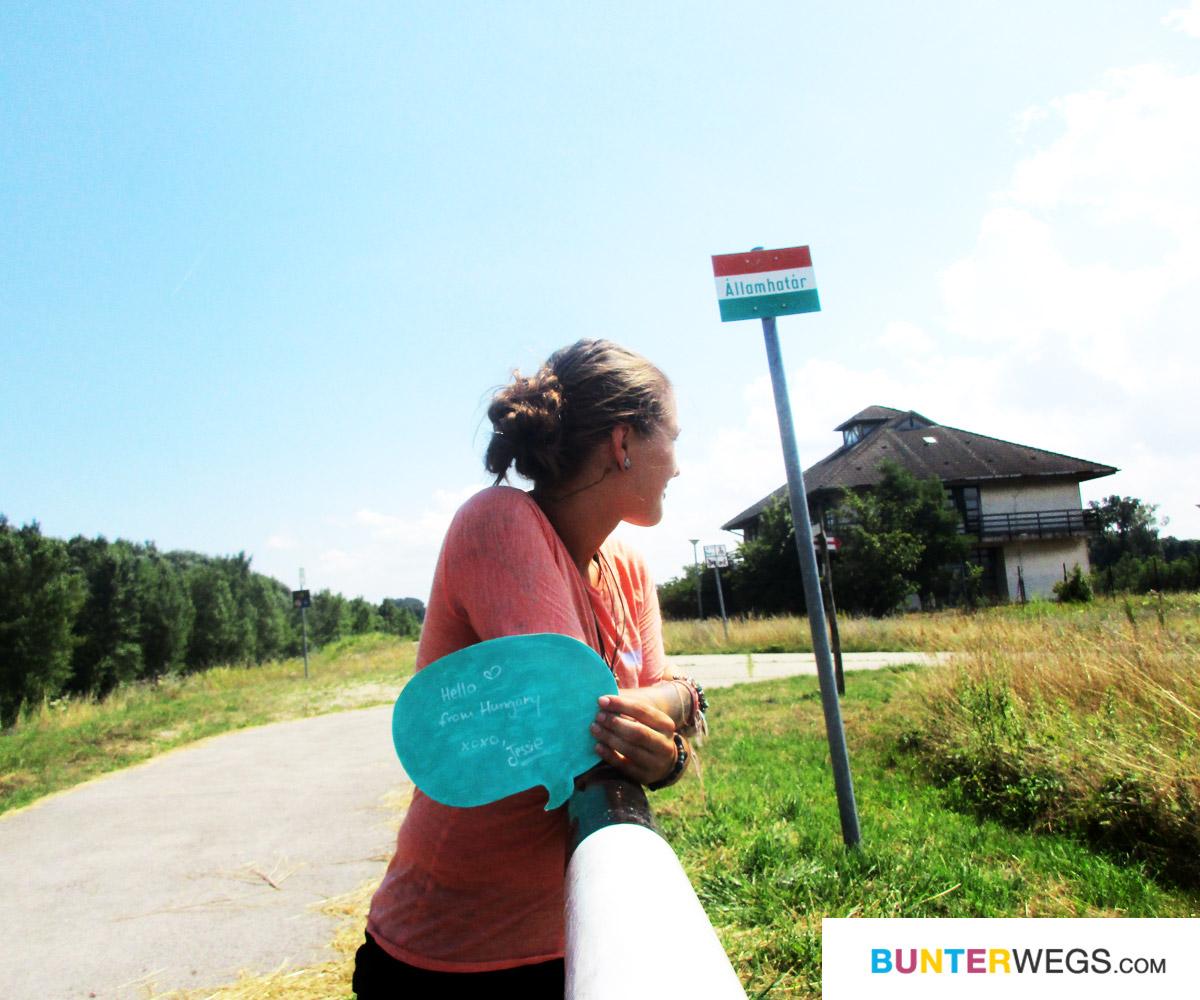 bunterwegs2nepal: Wandern auf dem Euro Velo 6 zwischen Bratislava, Slowakei und Rajka, Ungarn. Hier an der ungarischen Grenze * BUNTERwegs. Der Outdoor Blog für Frauen mit Liebe zum Wandern und zur Street Art